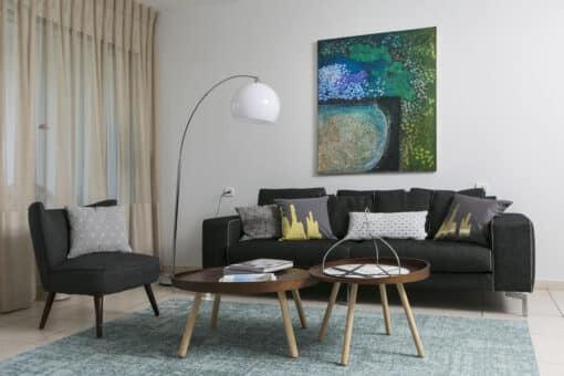 שטיח פטרה לסלון בצבע טורקיז