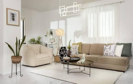 שטיח סיגרם לסלון בצבע לבן